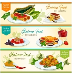 Italian cuisine popular lunch dishes banner set vector