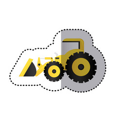 Sticker colorful tractor loader building machine vector
