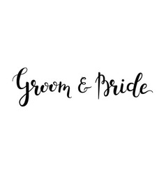 Groom and bride hand-drawn lettering decoration vector