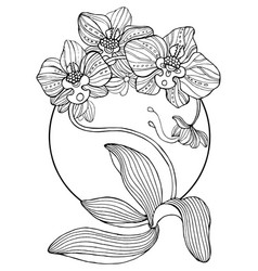 orchid flowers coloring book vector image