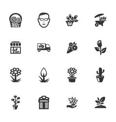 Flower shop icons set vector