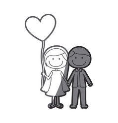 grayscale silhouette of caricature of couple him vector image