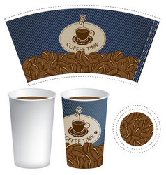 Pattern cup of coffee with the texture of denim vector