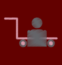Flat icon in shading style porter truck vector