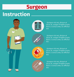 Medical equipment instruction for surgeon vector