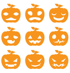 pumpkin halloween set vector image