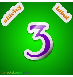 Number three icon sign symbol chic colored sticky vector