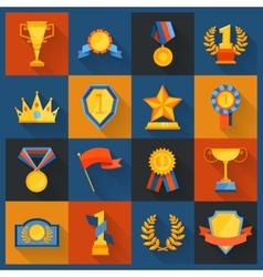 Award icons set flat vector image