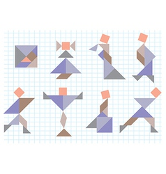 tangram people vector image