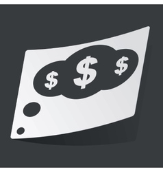 Monochrome dollar thought sticker vector
