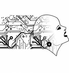 Bald head and printed circuits vector