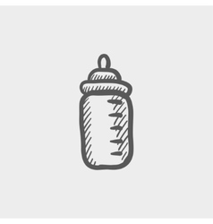 Feeding bottle sketch icon vector