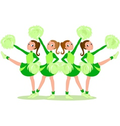 Cheerleaders in green vector