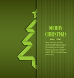 Christmas card with tucked green folded tree paper vector