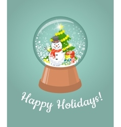 Christmas glass snow ball with happy snowman vector