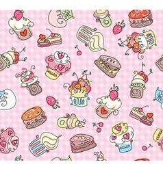 Seamless pattern of cupcakes vector