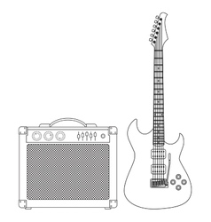 Guitar and amplifier vector