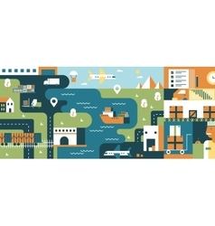 Transportation logistic background flat vector