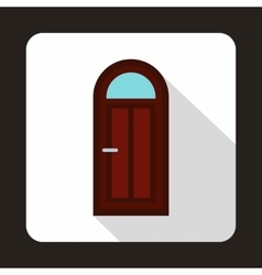 Brown arched wooden door with glass icon vector