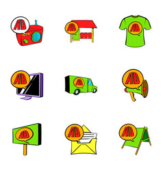 Ali delivery icons set cartoon style vector