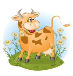 Amusing cow chews a grass vector