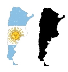 Argentina country black silhouette and with flag vector image