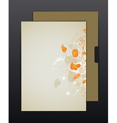 Brown sheet with flower ornament vector image