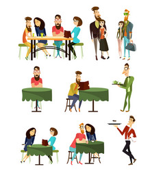 cafe visitors flat icons set vector image vector image