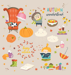 cartoon autumn set vector image vector image