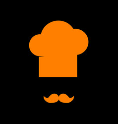 chef hat and moustache sign orange icon on black vector image