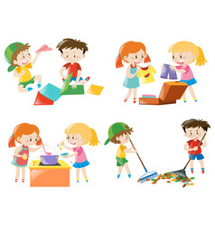 children doing different activities vector image