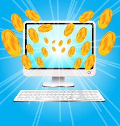 computer and money vector image vector image