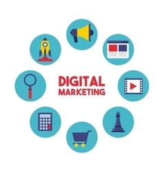 digital marketing set line icons vector image vector image