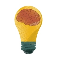 Drawing brain idea bulb concept vector
