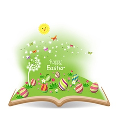 Easter egg spring with dandelion in the book vector