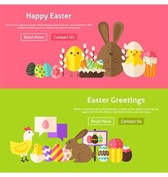 Easter greetings flat website banners set vector