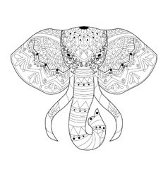 Elephant coloring for adults vector image vector image