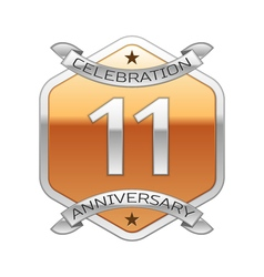 Eleven years anniversary celebration silver logo vector image