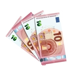 Forty euro in bundle of banknotes on white vector