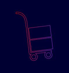 Hand truck sign line icon with gradient vector