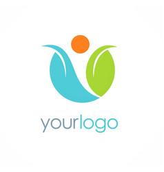 happy man leaf organic logo vector image vector image