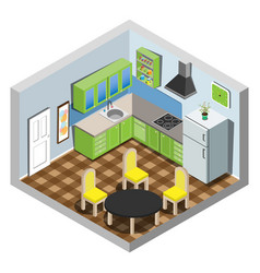 Isometric set of kitchen furniture vector