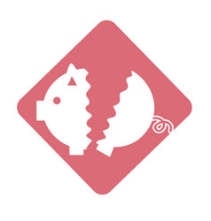 Label nice pig to save coin currency broken vector