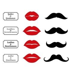Ladies and gentlemen bathroom symbols lips vector