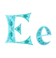 Low poly letter e in blue mosaic polygon vector