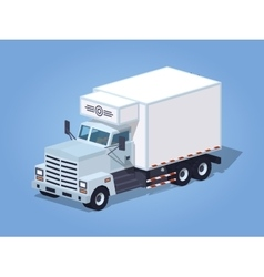 Low poly white truck refrigerator vector image