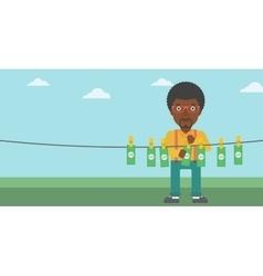 Man loundering money vector image