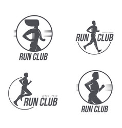 Man woman running club icon isolated set vector