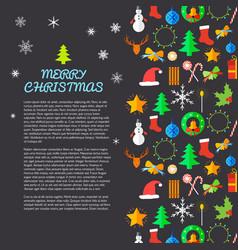Merry christmas flat postcard vector