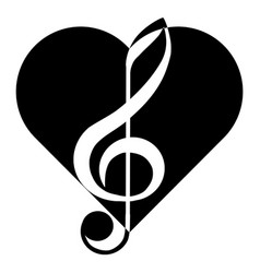 Music treble clef heart abstraction tattoo vector